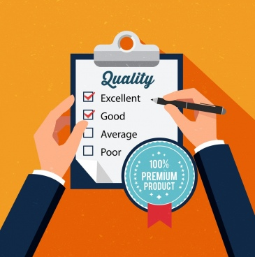 quality check banner checklist writing hands stamp icons