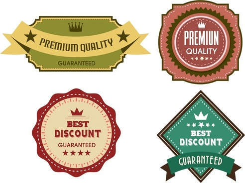 quality guarantee labels collection various classical style shapes