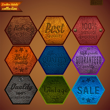 quality guarantee lable sets illustration in polygon shape