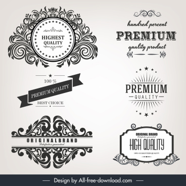 quality identity label templates elegant retro calligraphic decor