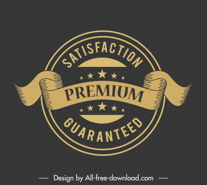 quality label template elegant vintage 3d ribbon sketch