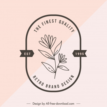 quality label template retro design handdrawn floral sketch