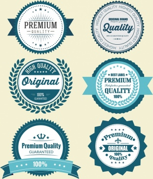 quality labels collection classical serrated circle design