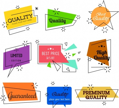 quality labels collection multicolored flat shapes design