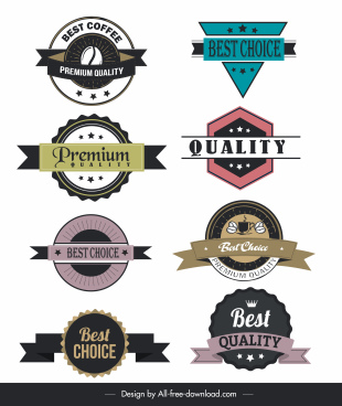 quality labels templates classic flat shapes