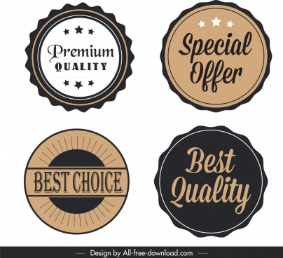 quality labels templates classical flat circles sketch