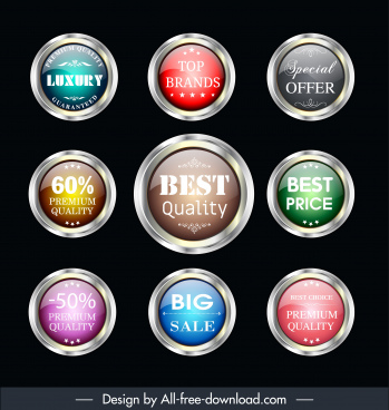quality labels templates shiny colorful circle shapes