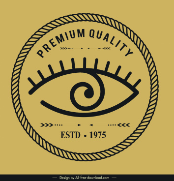 quality logotype eye circle sketch flat retro design