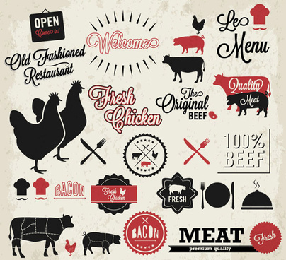 quality meat labels with restaurant elements vector