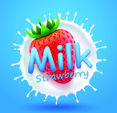 quality milk advertising poster splashes style vector