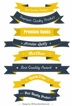 quality ribbon templates colored 3d horizontal sketch