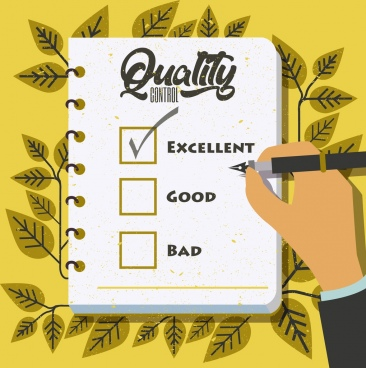 quality warranty banner checklist notebook leaves icons decor