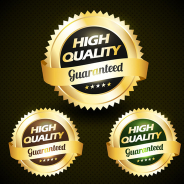 quality warranty labels design on round serrate icons