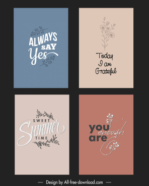 quotation banner templates elegant retro calligraphy flower decor
