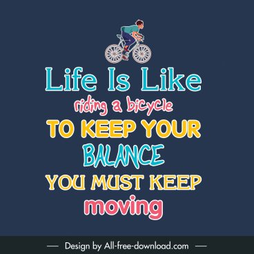quotation poster template biking man sketch colorful texts