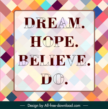 quotation poster template colorful squares backdrop contrasted texts