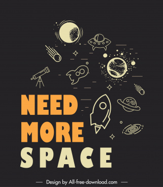 quotation typography banner space elements sketch dark flat