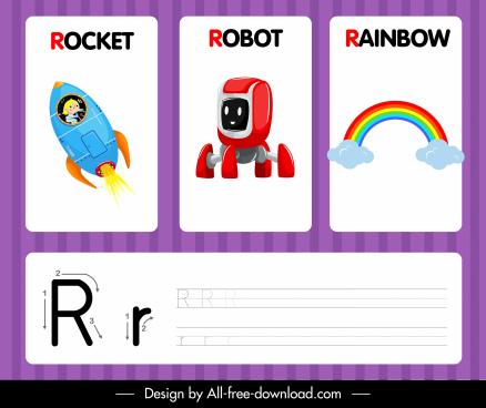 r alphabet study template rocket robot rainbow sketch