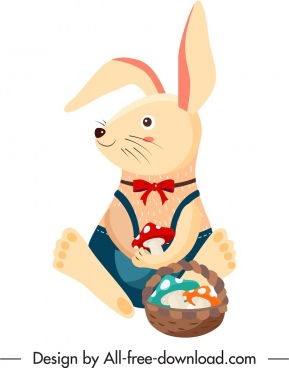 rabbit animal icon colored cartoon character stylized design
