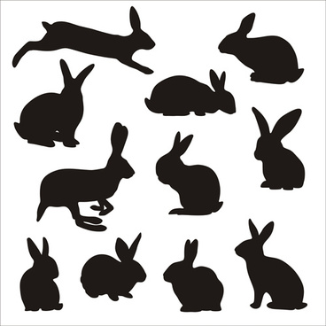 rabbit cute silhouettes vectors