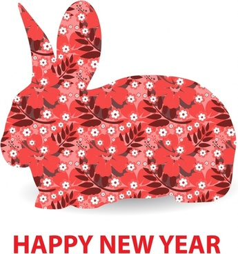new year banner flat rabbit icon layout flower decor
