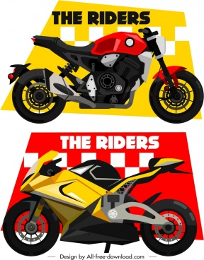 race background templates motorbike icons sketch
