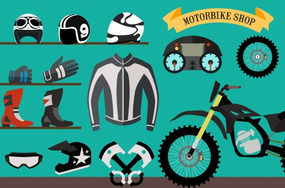 racer design elements motorbike accessories protective clothes icons