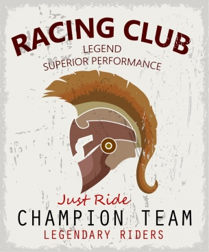 racing club advertisement retro design knight helmet icon