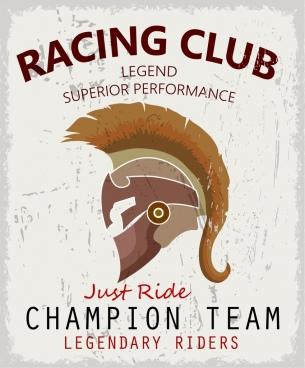 racing club advertisement retro design knight helmet icon