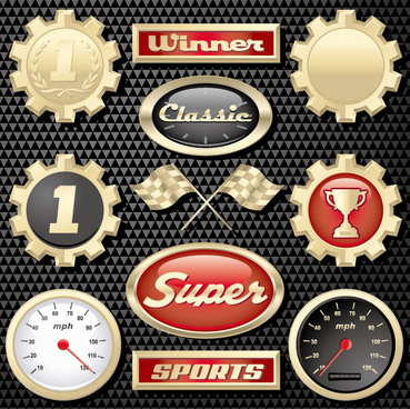 racing creative icons vector