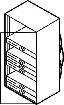 Rack Mounted Blade Servers Outline clip art