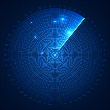 radar elements blue background vector
