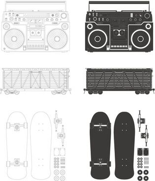 radio container skateboard vector