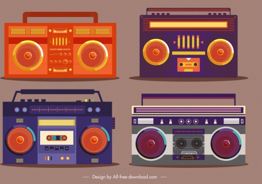 radio icons dark vintage flat design