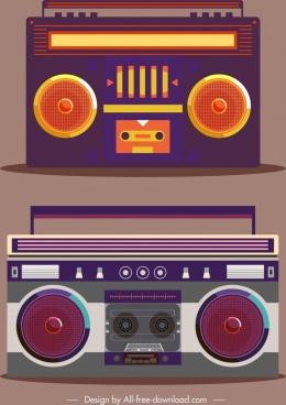 radio model icons classical dark flat design
