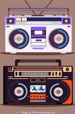 radio model icons dark bright colored decor