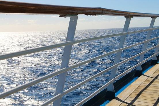 railing of ship at sea