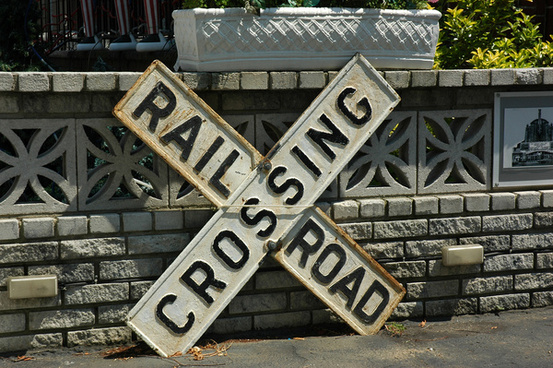 railroad crossing sign in bensonhurst