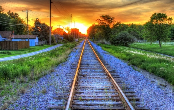 railroad to sunset in southern wisconsin