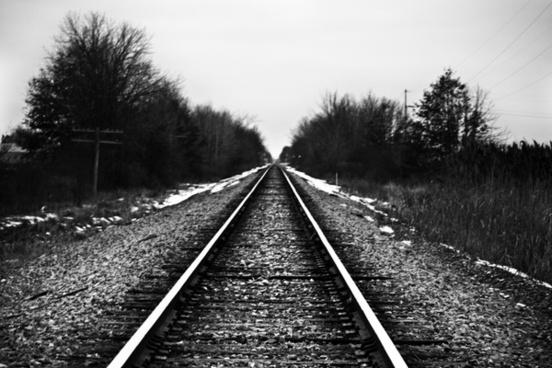 railroad tracks snow