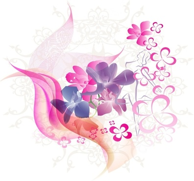 floral background sketch pink flowers and curves design