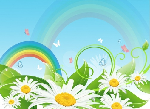 Rainbow and flower landscape