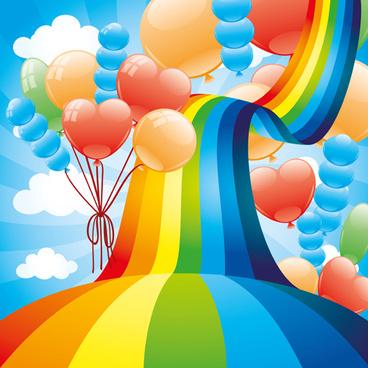 rainbow bridge and balloons vector background