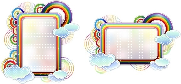 rainbow clouds cute vector border