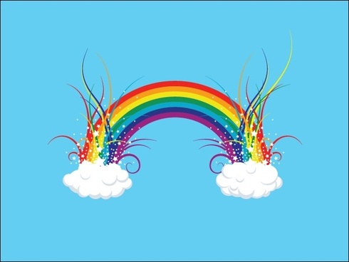 colorful rainbow on clouds with curves illustration