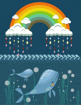 rainbow ocean background cloud rain drops whale icons