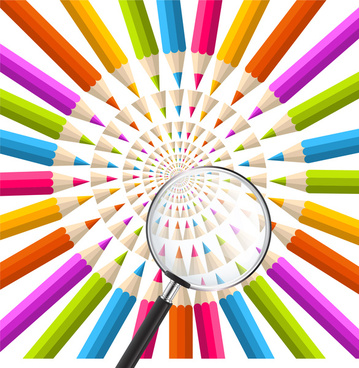 rainbow pencil background in circle