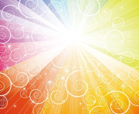 dazzling rays colorful background curves pattern decoration
