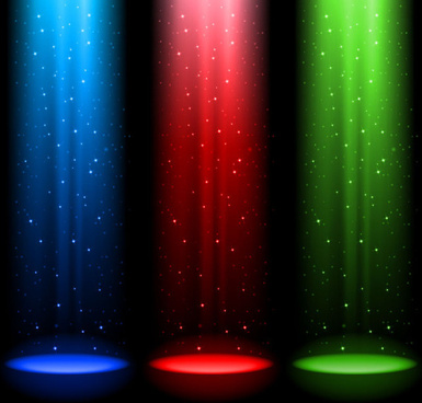 rainbow stage spotlights vector background