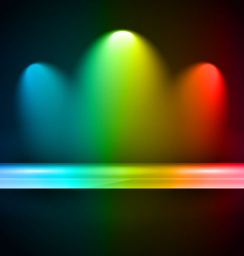 rainbow stage spotlights vector background